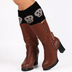 Casual Skull Pattern Boot Cuffs - BLACK