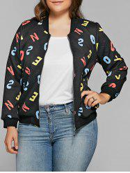 Letter Print Zipper Flying Bomber Jacket - BLACK