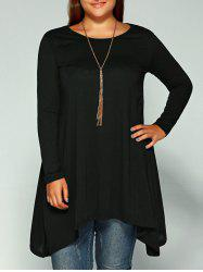 Asymmetric Plus Size Full Sleeve T-Shirt - BLACK