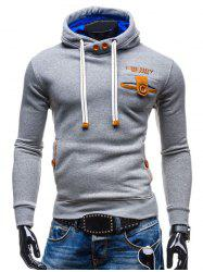 Hooded Buttons Embellished Edging Long Sleeve Hoodie -