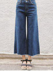 Back Pocket Unedged Denim Wide Leg Pants -
