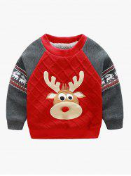 Elk Print Color Block Christmas Sweatshirt - RED