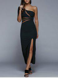 One-Shoulder Slit Fitted Maxi Formal Dress