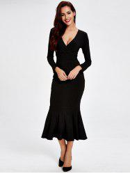 Long Sleeve Fitted Mermaid Midi Prom Dress - BLACK