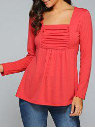 Square Neck Ruched Long Sleeve T-Shirt