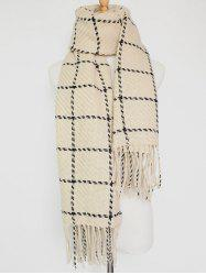 Tasseled Plaid Knitted Scarf