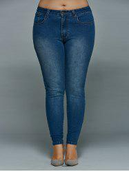 Plus Size Mid Waisted Skinny Jeans - DENIM BLUE