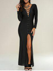 Lace Up Maxi Slit Formal Party Prom Dress with Long Sleeves