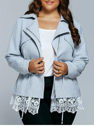 Drawstring Waist Lace Spliced Trench Jacket -
