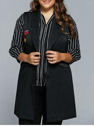 Lip Applique Long Waistcoat - BLACK 5XL