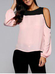 Cold Shoulder Contrast Trim Blouse - SHALLOW PINK