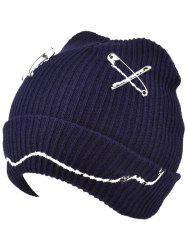 Warm Paper Clip Smiling Face Flange Knitted Beanie -