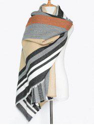 Winter Vertical Stripe Pattern Fringed Knit Scarf