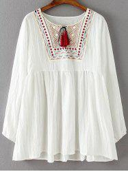 Ruched Embroidered Loose Blouse - WHITE 4XL