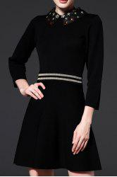 Beaded Flat Collar A Line Knitted Dress -
