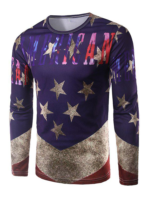 Buy Round Neck Long Sleeves Five-Point Star Print T-Shirt