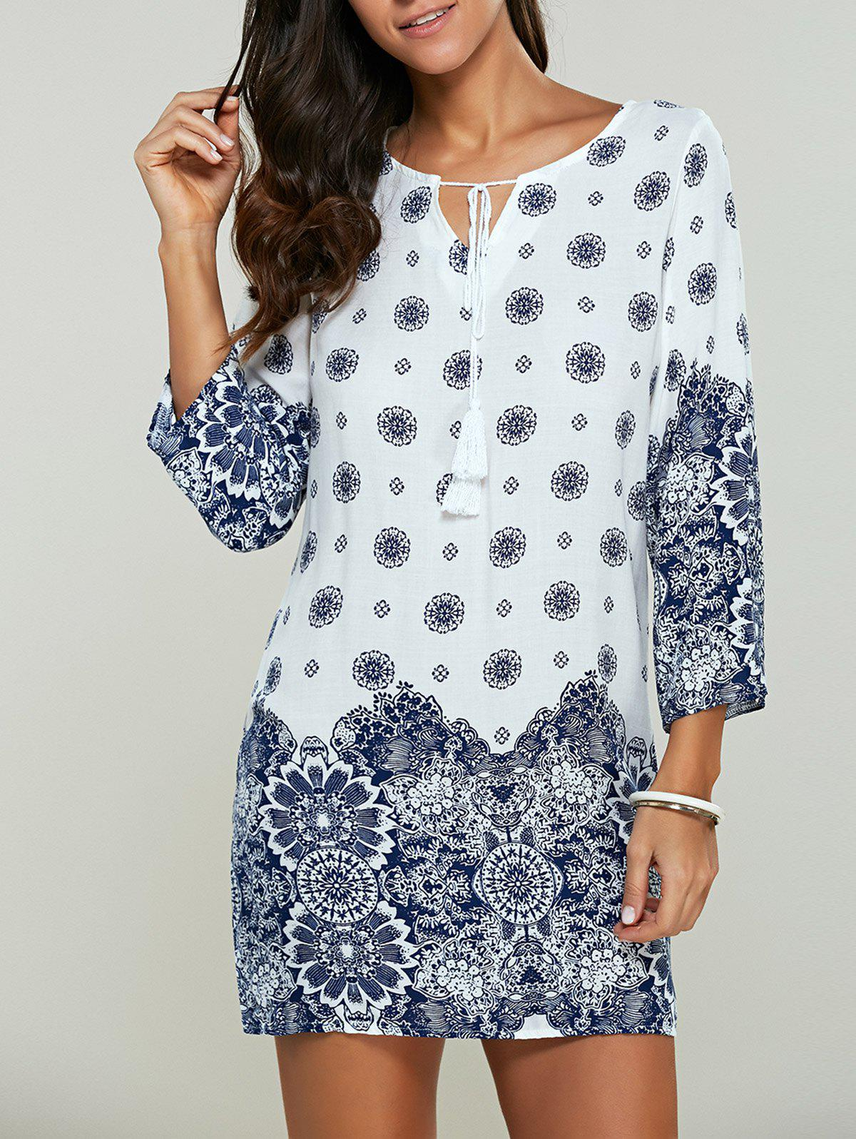 Casual Tribal Print Bohemian Short Shift DressWOMEN<br><br>Size: M; Color: WHITE; Style: Brief; Material: Cotton,Polyester; Silhouette: Straight; Dresses Length: Mini; Neckline: Scoop Neck; Sleeve Length: 3/4 Length Sleeves; Pattern Type: Print; With Belt: No; Season: Fall,Spring,Summer; Weight: 0.1440kg; Package Contents: 1 x Dress;