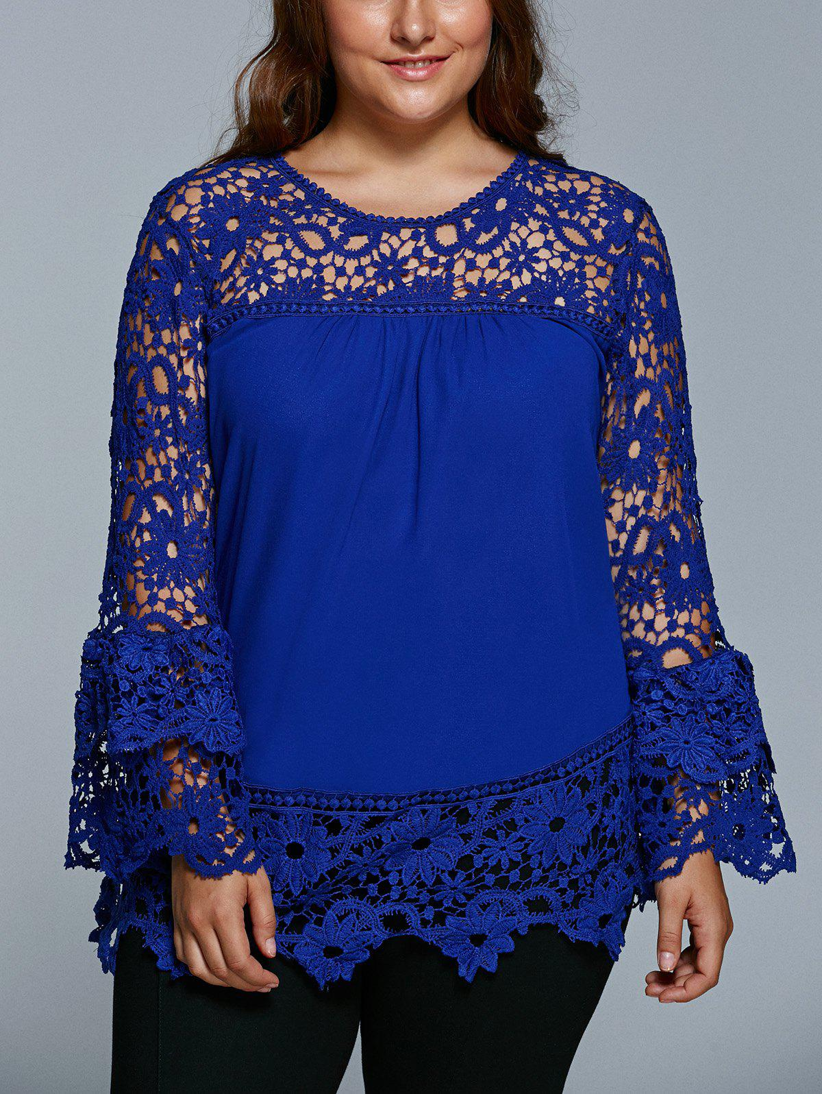 Lace Spliced Hollow Out Plus Size BlouseWOMEN<br><br>Size: 3XL; Color: SAPPHIRE BLUE; Material: Lace,Polyester; Shirt Length: Regular; Sleeve Length: Full; Collar: Jewel Neck; Style: Fashion; Season: Fall,Spring; Pattern Type: Patchwork; Weight: 0.3500kg; Package Contents: 1 x Blouse;