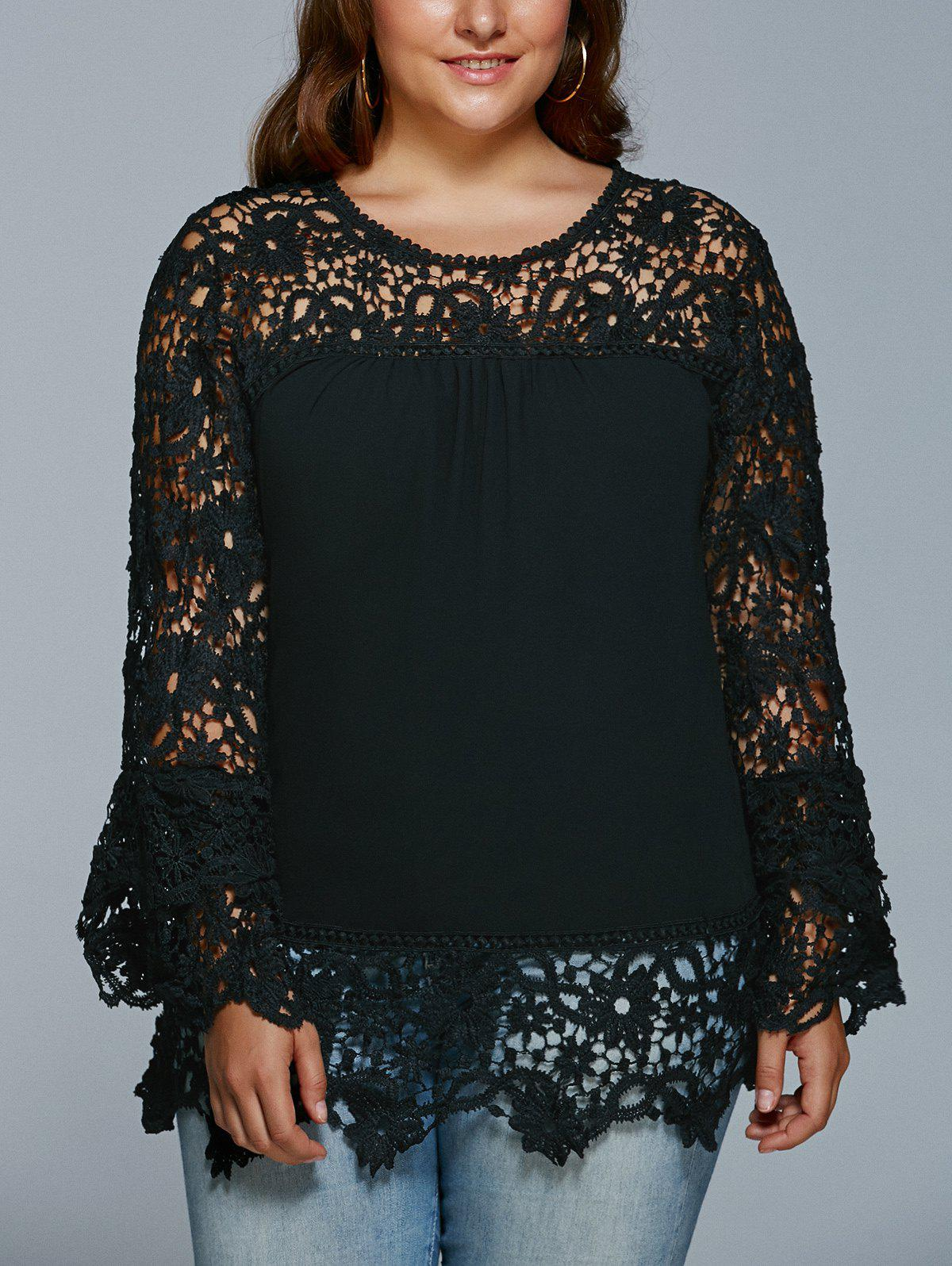 Lace Spliced Hollow Out Plus Size BlouseWOMEN<br><br>Size: XL; Color: BLACK; Material: Lace,Polyester; Shirt Length: Regular; Sleeve Length: Full; Collar: Jewel Neck; Style: Fashion; Season: Fall,Spring; Pattern Type: Patchwork; Weight: 0.3500kg; Package Contents: 1 x Blouse;