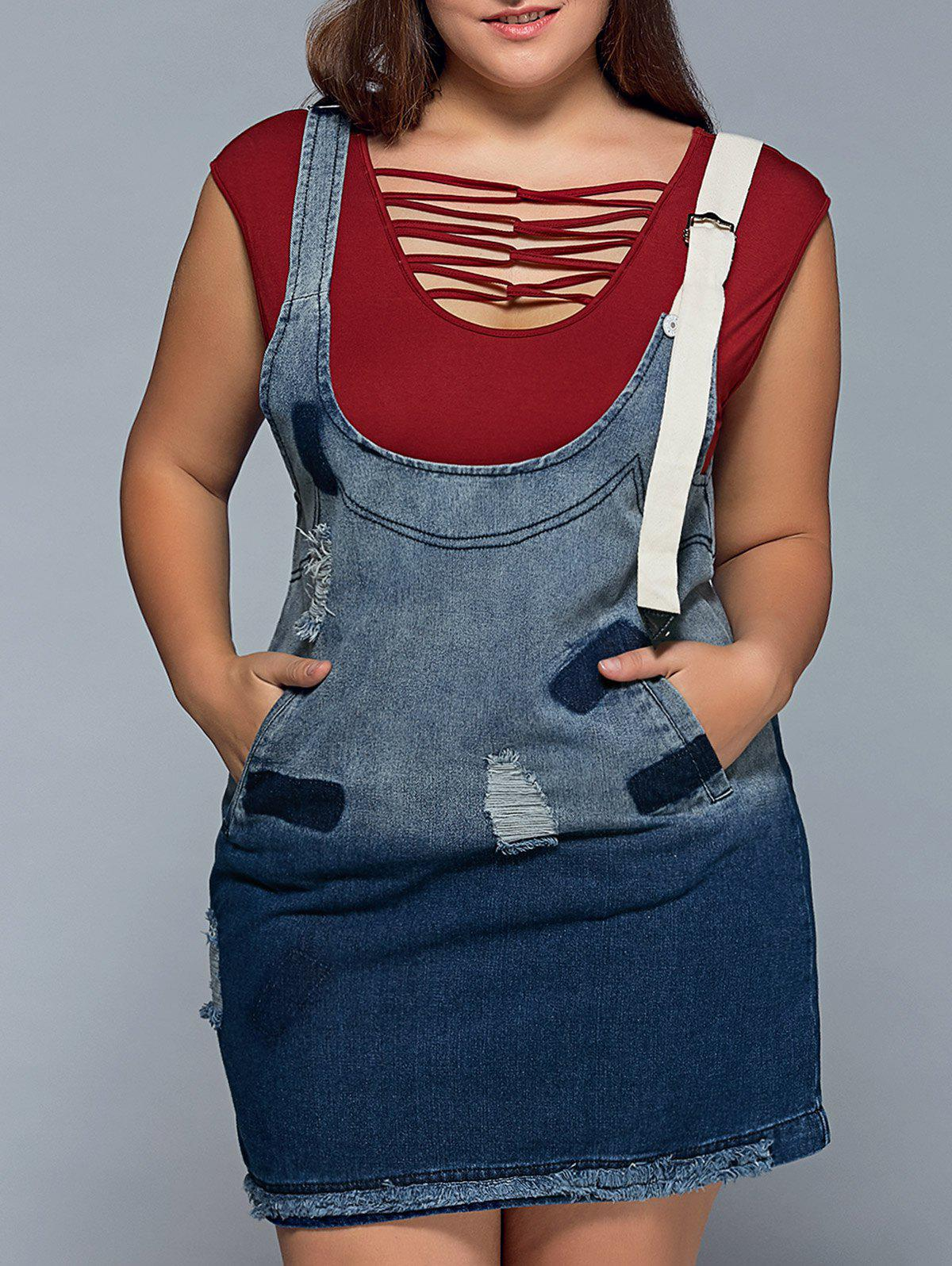 Ripped Denim Plus Size Pinafore DressWOMEN<br><br>Size: 4XL; Color: BLUE; Style: Casual; Material: Polyester; Fabric Type: Denim; Silhouette: Sheath; Dresses Length: Mini; Neckline: Scoop Neck; Sleeve Length: Sleeveless; Pattern Type: Patchwork; With Belt: No; Season: Fall,Spring,Summer; Weight: 0.540kg; Package Contents: 1 x Dress;