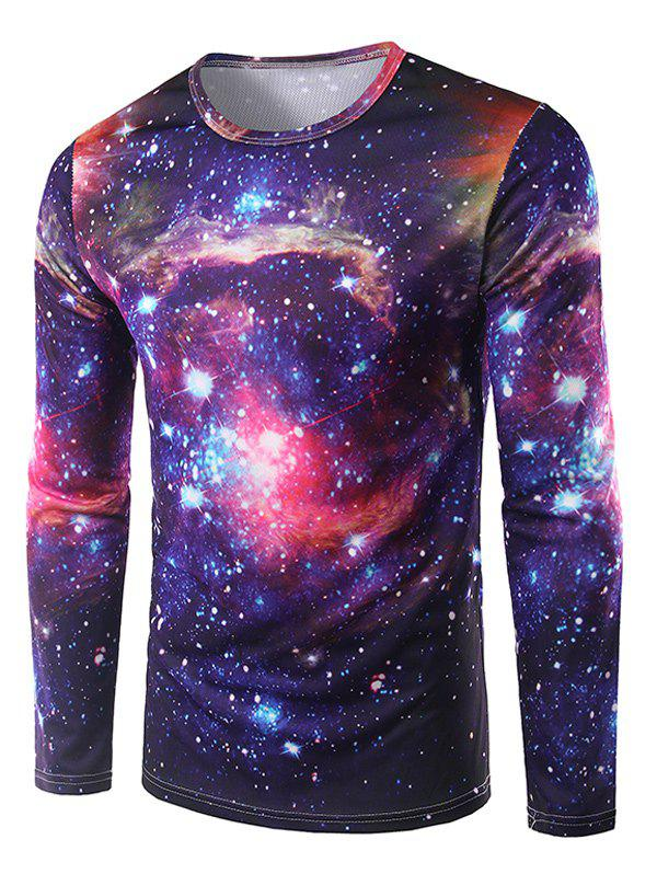 Round Neck 3D Print Galaxy T-ShirtMEN<br><br>Size: L; Color: DEEP PURPLE; Material: Polyester; Sleeve Length: Full; Collar: Round Neck; Style: Casual; Embellishment: 3D Print; Pattern Type: Star; Season: Fall,Spring; Weight: 0.192kg; Package Contents: 1 x T-Shirt;