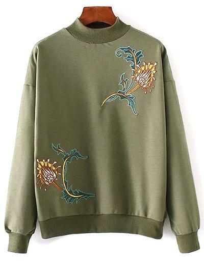 Cheap Embroidered High Neck Sweatshirt