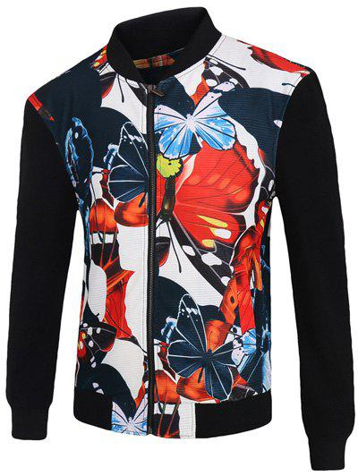 Store 3D Color Block Butterfly Print Stand Collar Zip-Up Jacket