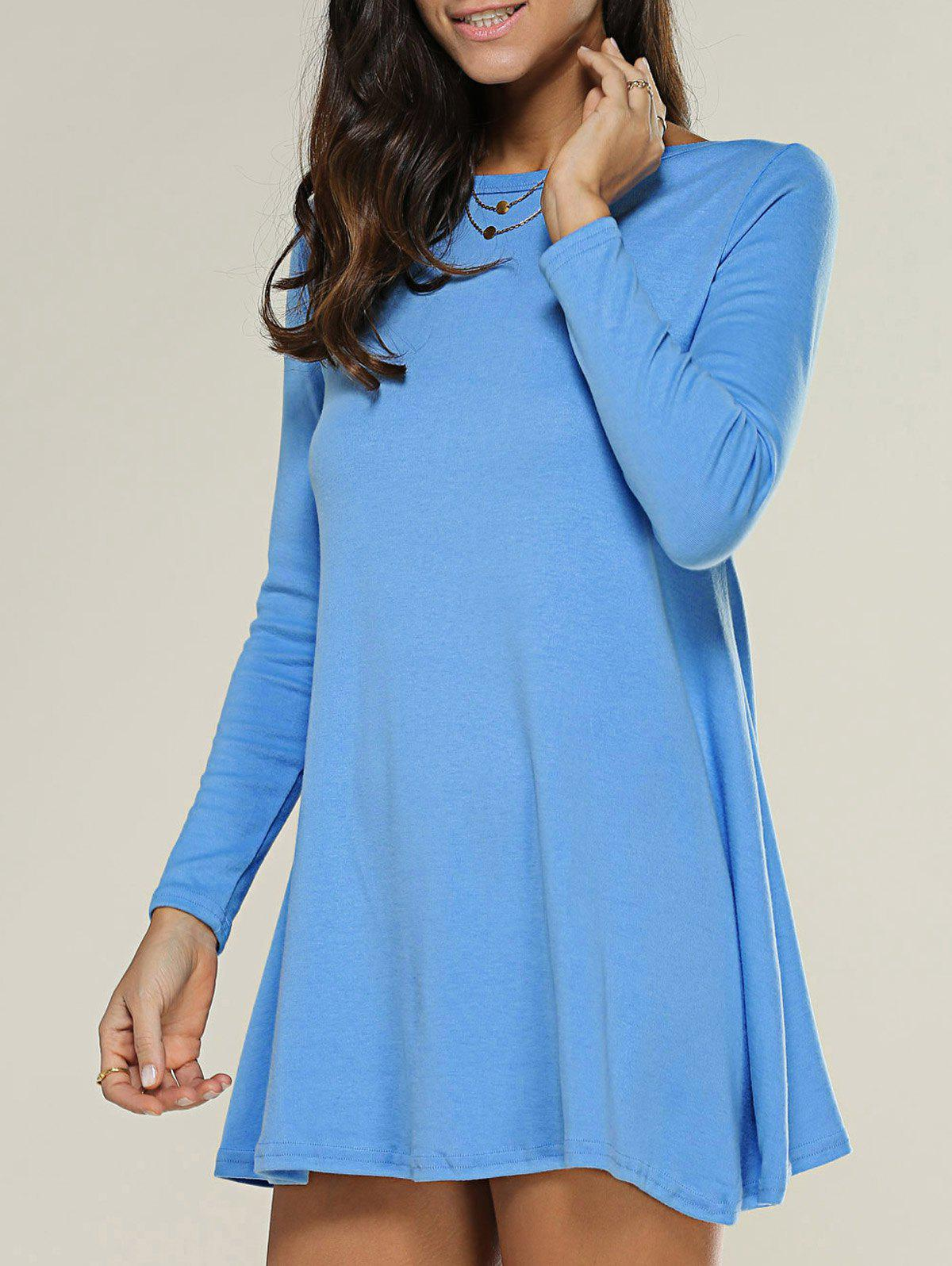 Shop Long Sleeve Jersey Tee Tunic Swing Dress