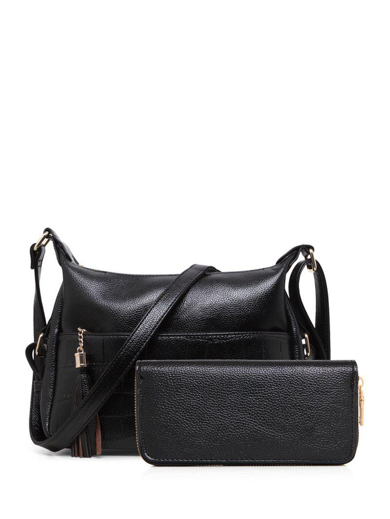 Outfits PU Leather Tassels Embossing Crossbody Bag
