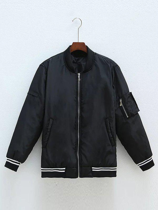Unique Plus Size Zipped Back Letter Bomber Jacket