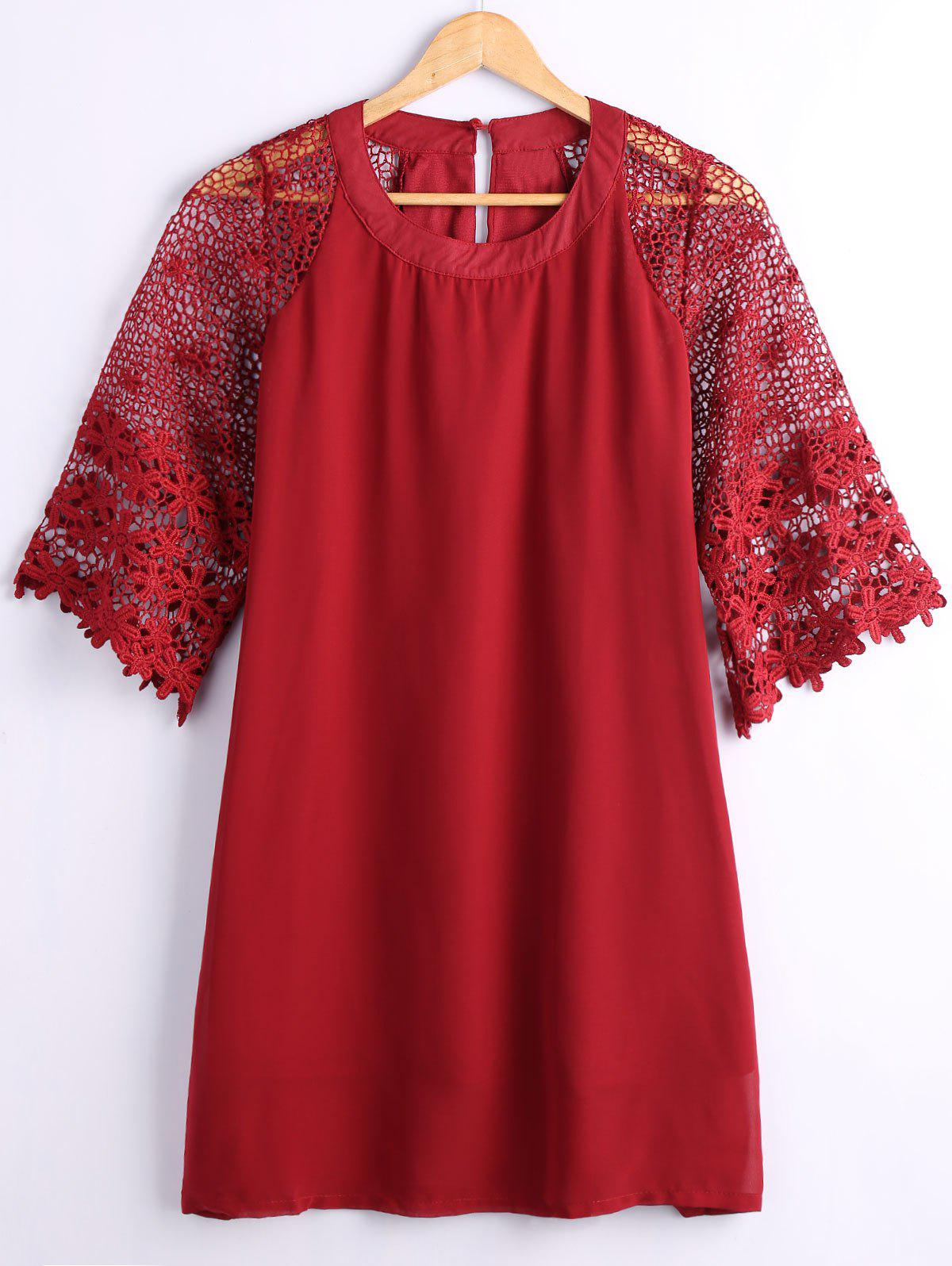New Hollow Out Lace Sleeves Loose Dress