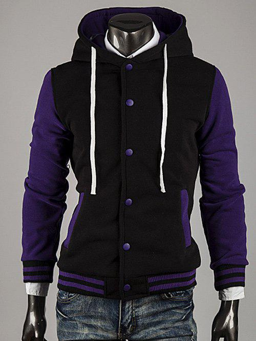 Trendy Hooded Color Block Stripe Spliced Varsity Hoodie