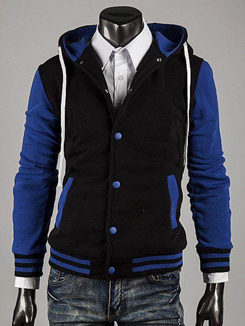 Latest Hooded Color Block Stripe Spliced Varsity Hoodie