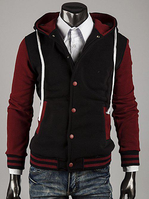Fashion Hooded Color Block Stripe Spliced Varsity Hoodie