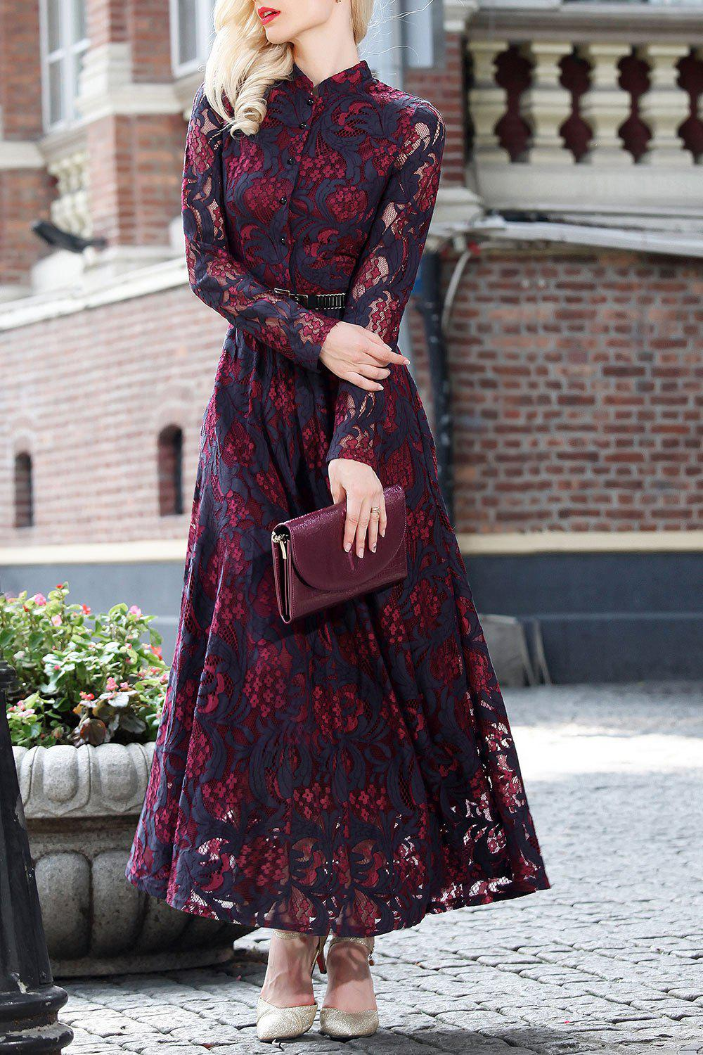 Shop Long Sleeve Lace Maxi Prom Dress