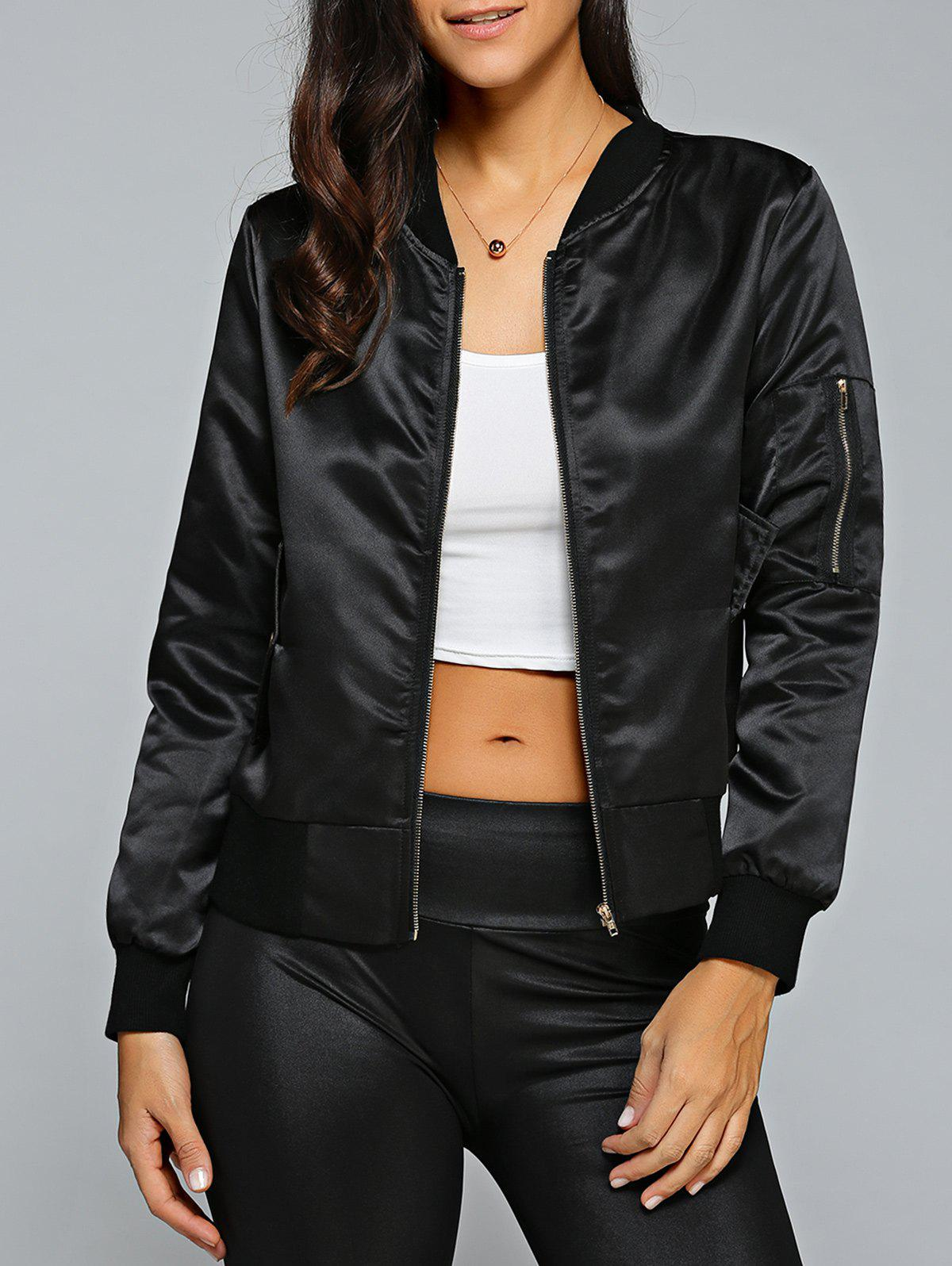 Satin Zip Up Bomber JacketWOMEN<br><br>Size: M; Color: BLACK; Clothes Type: Jackets; Material: Polyester; Type: Slim; Shirt Length: Regular; Sleeve Length: Full; Collar: Stand-Up Collar; Closure Type: Zipper; Pattern Type: Solid; Embellishment: Zippers; Style: Fashion; Season: Fall,Spring; Weight: 0.370kg; Package Contents: 1 x Jacket;