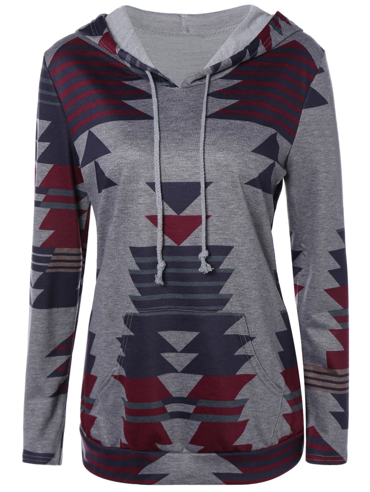 Shops Front Pocket Printed Pullover Hoodie