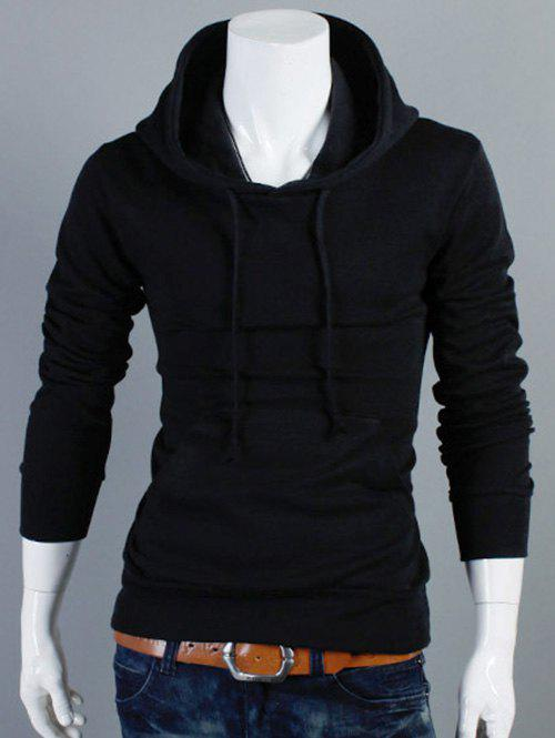 Plain Kangaroo Pocket Drawstring Pullover Hoodie - Black L