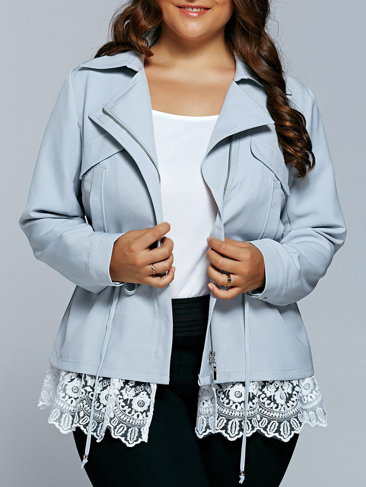 Best Drawstring Waist Lace Spliced Trench Jacket