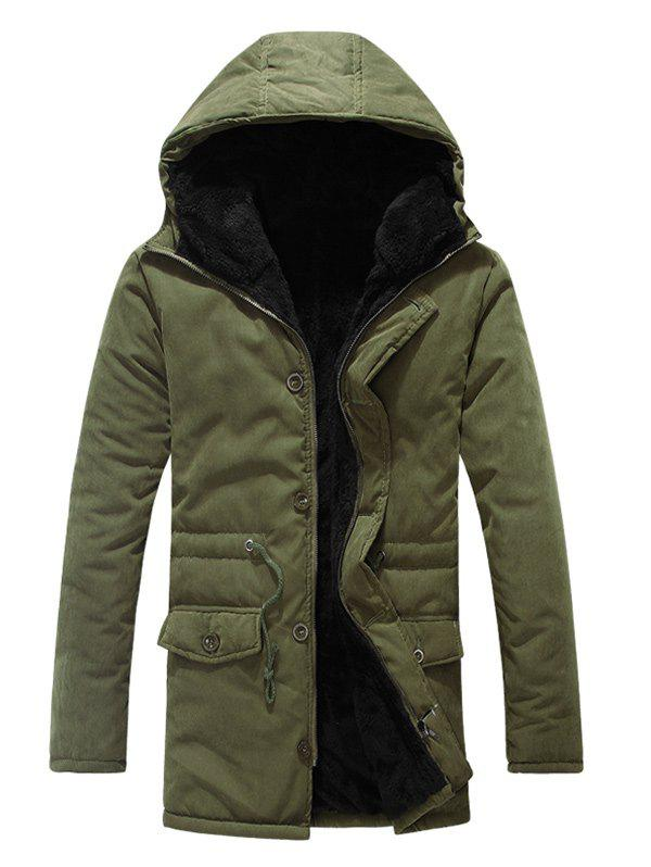 New Drawstring Zipper Button Hooded Padded Coat