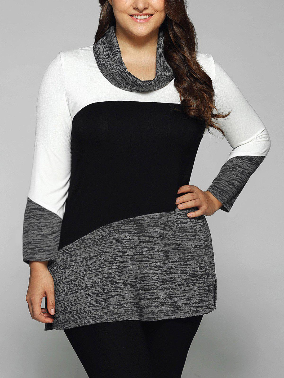 Plus Size Cowl Neck Heathered BlouseWOMEN<br><br>Size: XL; Color: WHITE AND BLACK; Material: Cotton Blends,Spandex; Shirt Length: Long; Sleeve Length: Full; Collar: Cowl Neck; Style: Casual; Season: Fall,Spring,Summer; Pattern Type: Patchwork; Weight: 0.360kg; Package Contents: 1 x Blouse;