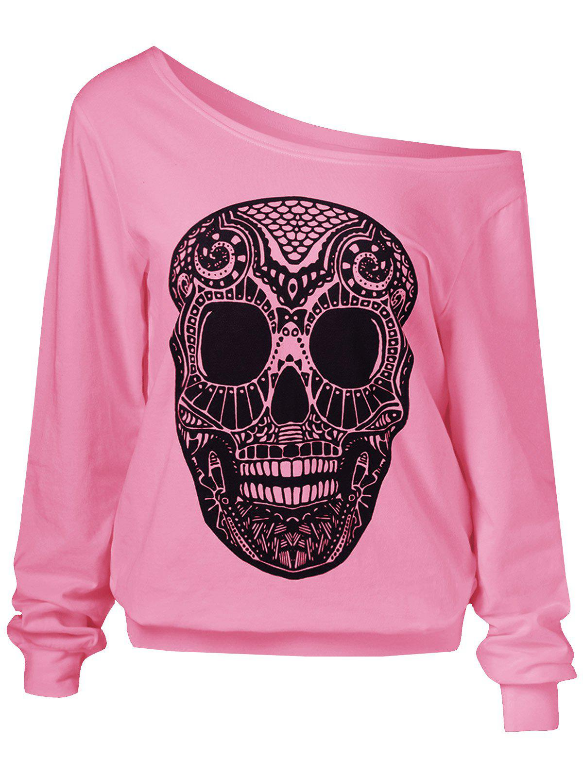 Fashion Skulls Print Skew Collar Sweatshirt