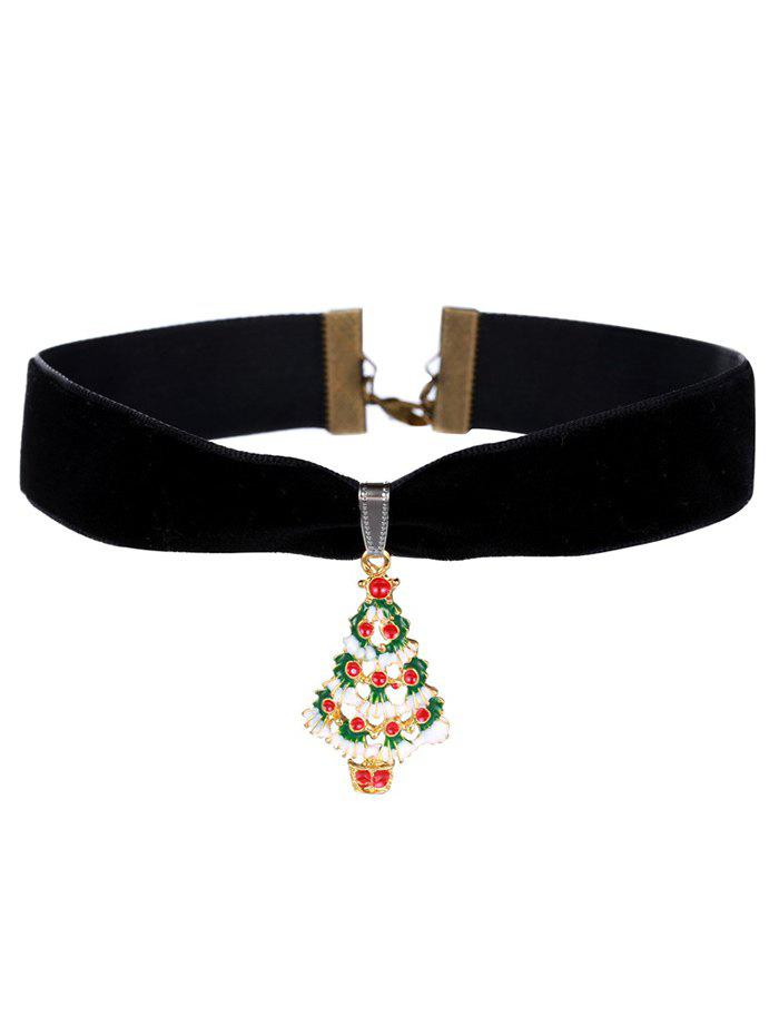 Christmas Snow Tree Velvet Wide Choker NecklaceJEWELRY<br><br>Color: BLACK; Item Type: Chokers Necklace; Gender: For Women; Material: Resin; Metal Type: Gold Plated; Style: Trendy; Shape/Pattern: Others; Weight: 0.020kg; Package Contents: 1 x Necklace;