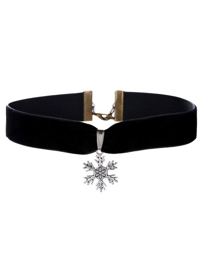 Christmas Snowflake Velvet Wide Choker NecklaceJEWELRY<br><br>Color: BLACK; Item Type: Chokers Necklace; Gender: For Women; Material: Resin; Metal Type: Silver Plated; Style: Trendy; Shape/Pattern: Others; Weight: 0.020kg; Package Contents: 1 x Necklace;