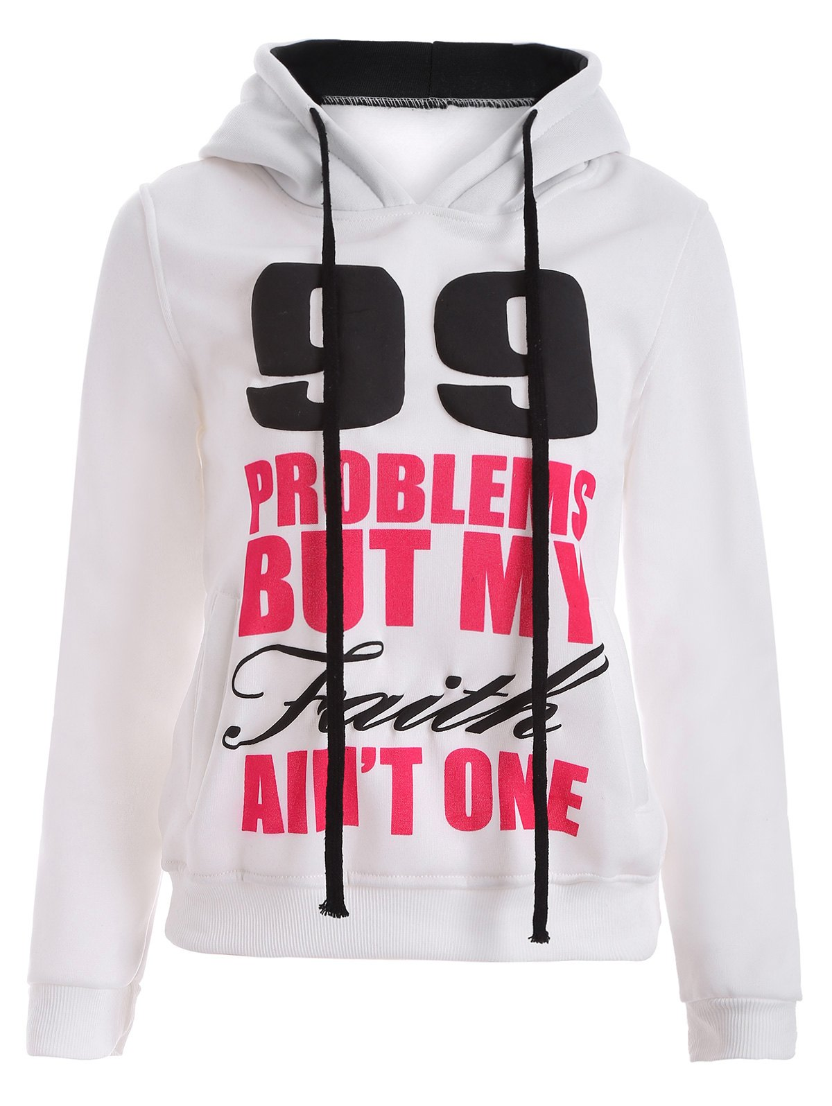 Outfits Letters Print Double-Pocket Design String Hoodie
