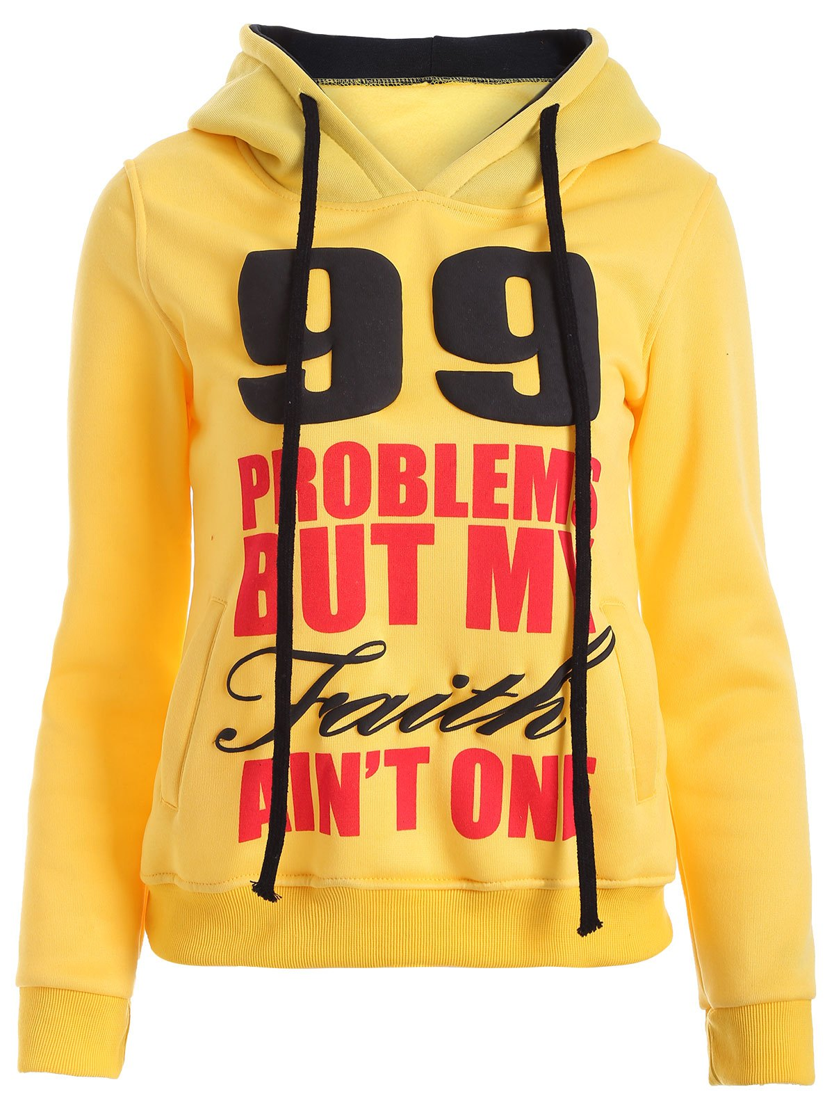 Chic Letters Print Double-Pocket Design String Hoodie