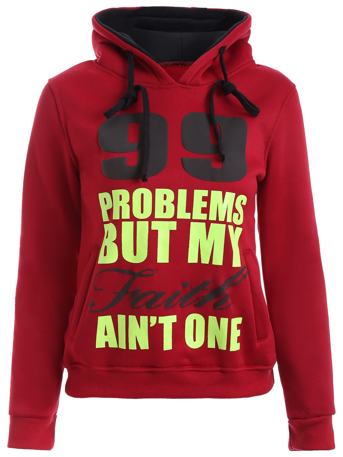 Fashion Letters Print Double-Pocket Design String Hoodie