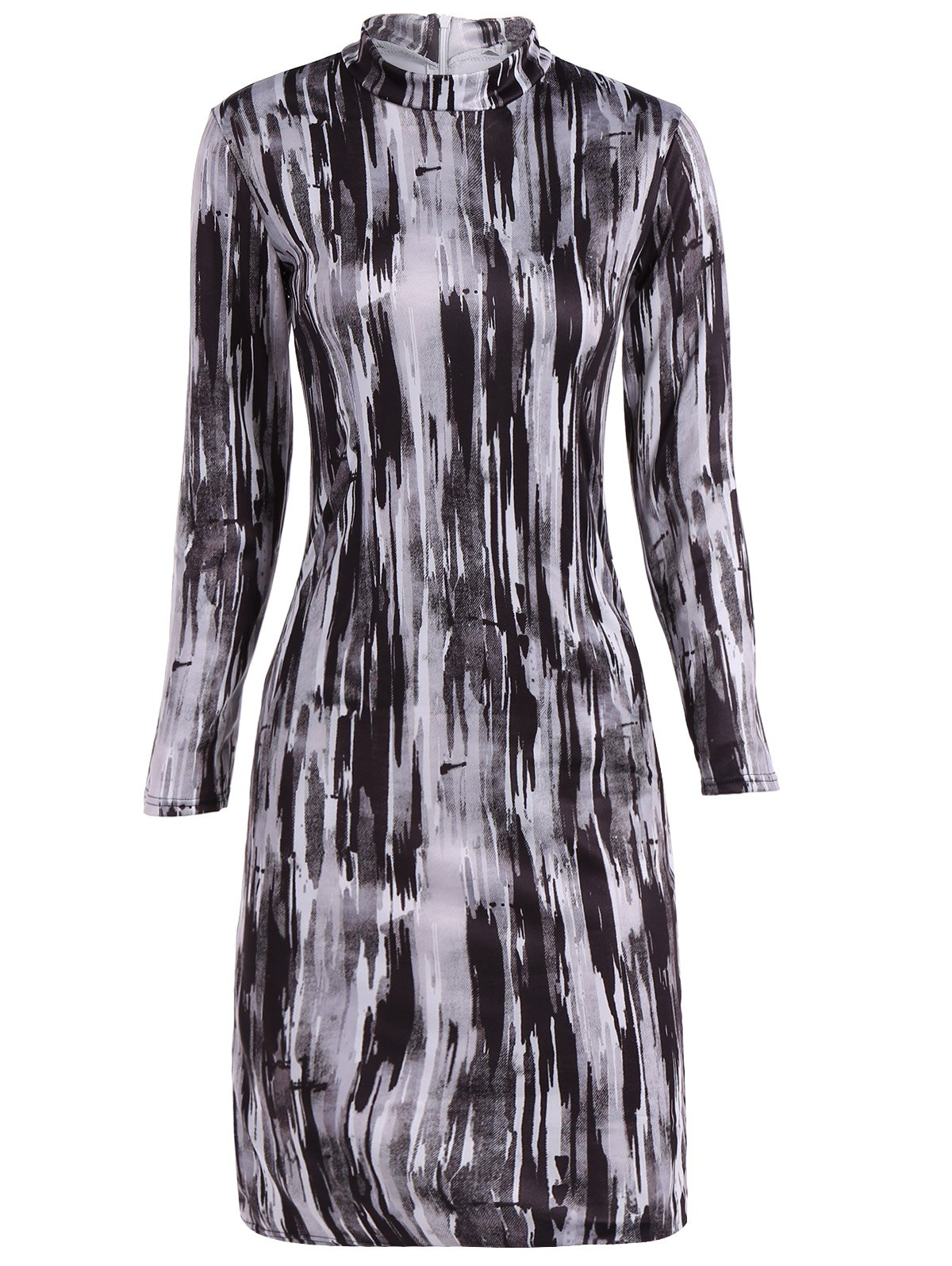 Online Turtleneck Abstract Print Midi Bodycon Dress