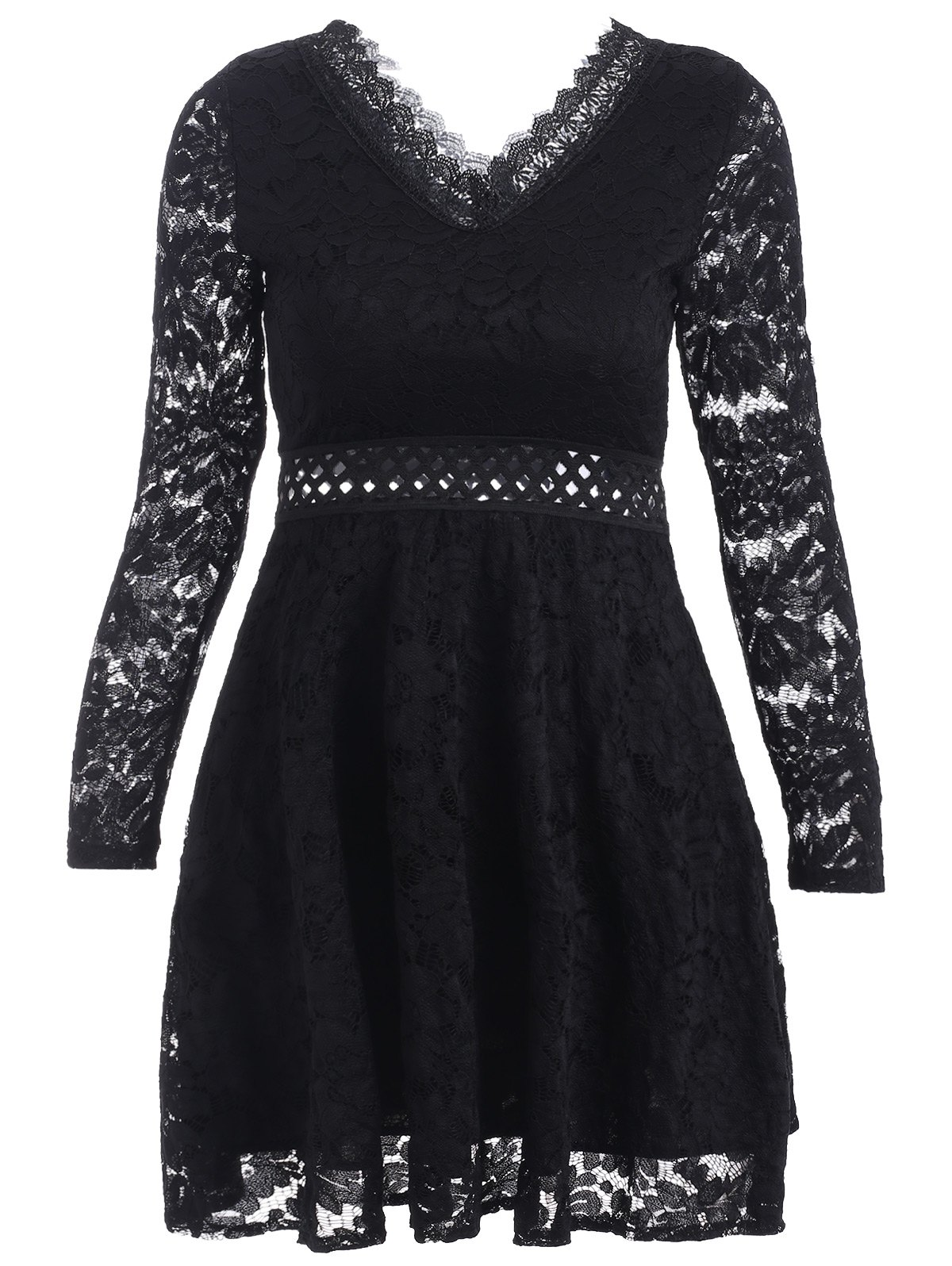 Shop V-Neck Openwork Lace A-Line Dress