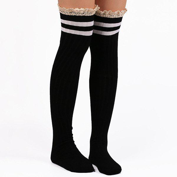 Casual Lace Edge Double Stripe Pattern Autumn StockingsACCESSORIES<br><br>Color: BLACK; Type: Stockings; Group: Adult; Gender: For Women; Style: Fashion; Pattern Type: Striped; Material: Spandex; Length(CM): Heel to edge length:50CM;Foot length:18CM; Width(CM): 8CM; Weight: 0.106kg; Package Contents: 1 x Stockings(Pair);
